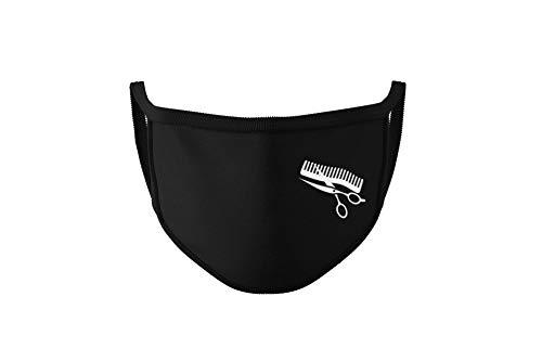 Dilara Wiederverwendbare Mundbedeckung für Frisör, Friseurin - Waschbare Maske aus Baumwolle Stoff (Friseur)