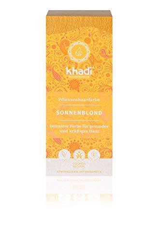 khadi Pflanzenhaarfarbe Sonnenblond I Haarfarbe für warmes, sommerliches Blond I Naturhaarfarbe 100% pflanzlich und vegan I Zertifizierte Naturkosmetik I 100g