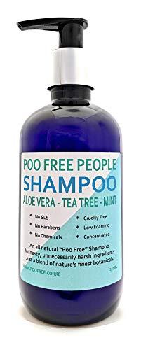 POO FREE NATÜRLICHES Shampoo | LOCKIGE HAARFORMULIERUNG - Mit Aloe Vera, TEEBAUM & Minze - 250ml Sulfat, Ohne Silikon, Ohne Parabene. Konzentriert, Schaumarm, Leicht zu Spülen.