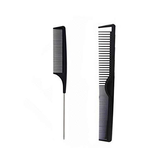 Kamm, 2 Stück Universal Kamm aus Carbon, Stielkamm Präzisionskamm Haarschneidekamm, Kit Haarkamm & Nadelstielkamm Carbon Kamm, Antistatisch