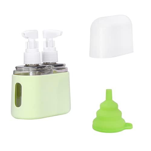 Behey Reiseflaschen Set und Flüssigkeits-Reisebehälter, transparentes Fläschchen für Handgepäck verwendbar, Reiseflaschen-Reiseset Shampoo-Conditioner, Geschenktrichter 2-in-1 - Grün