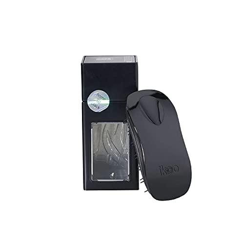 ikoo Brush Home Haarbürste schwarz & schwarze Borsten I ergonomische Entwirrbürste für müheloses Kämmen ohne Ziepen, auch für langes Haar & Locken I innovative Detangler Bürste & Kopf-Massage