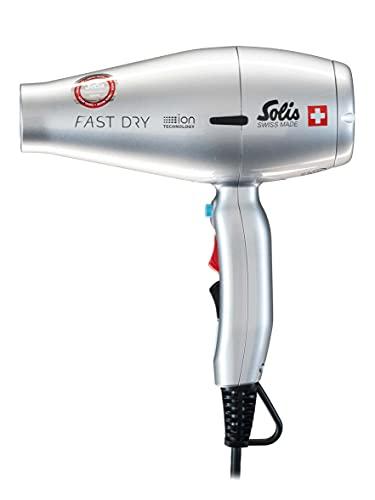 Solis Profi-Haarföhn, 3 Temperatur- und Gebläsestufen, Abkühl-Taste, DC-Motor, 1800 Watt, Ionen-Technologie, Light & Strong (Typ 442), Silber