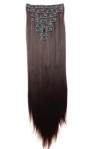 PRETTYSHOP XXL 60cm 8 Teile Set CLIP IN EXTENSIONS Haarverlängerung Haarteil Glatt Dunkelbraun Mix CES23