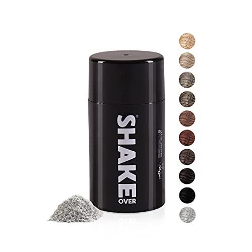 SHAKE OVER® Veganes Streuhaar zur Haarverdichtung, mit Zink angereicherte Fasern, hochwertiges Schütthaar, Made in Europe (12 g, GRAY)
