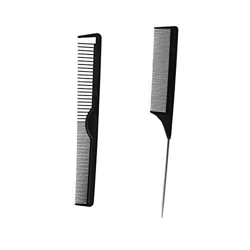 Kamm, 2 Stück Universal Kamm aus Carbon, Stielkamm Präzisionskamm Haarschneidekamm, Haarkamm & Nadelstielkamm Carbon Kamm für Haare & Bart, Antistatisch