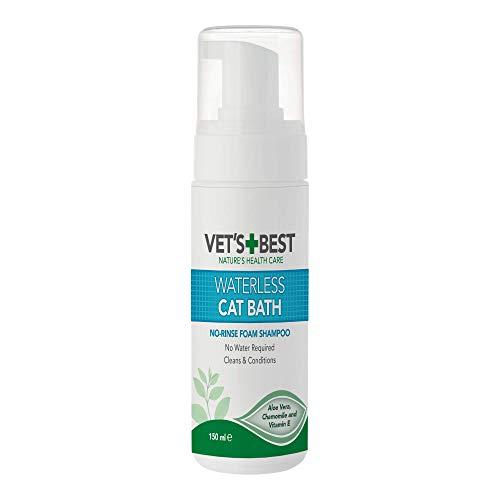 Vets Best BestBest natürliche wasserlose Katzenbad   Kein Spülen Wasserloses Trockenshampoo für Katzen, 150ml, 80111-6p, 0.2