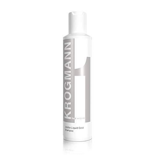 KROGMANN Jojoba Liquid Gold Shampoo 1, mildes & feuchtigkeitsspendendes Haarshampoo, für strapaziertes Haar mit Spliss, pflegt trockene Kopfhaut, ohne Silikon, Friseur-Qualität, 200 ml