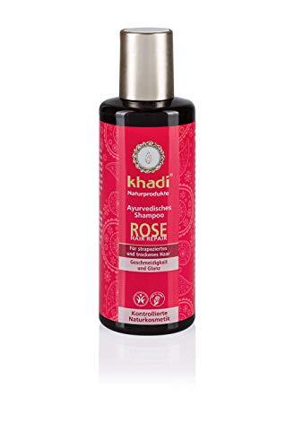 khadi Ayurvedisches Shampoo Rose Repair 210ml I pflanzliches Haarshampoo für trockenes Haar I 100% natürlich und vegan