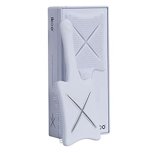ikoo Paddle X Haarbürste für üppige Mähnen, in Weiß Classic I Stylingbürste mit Hitzeschutz, ideal zum Föhnen & Glätten I Detangler Bürste zum Entwirren von lockigem Haar, nass & trocken