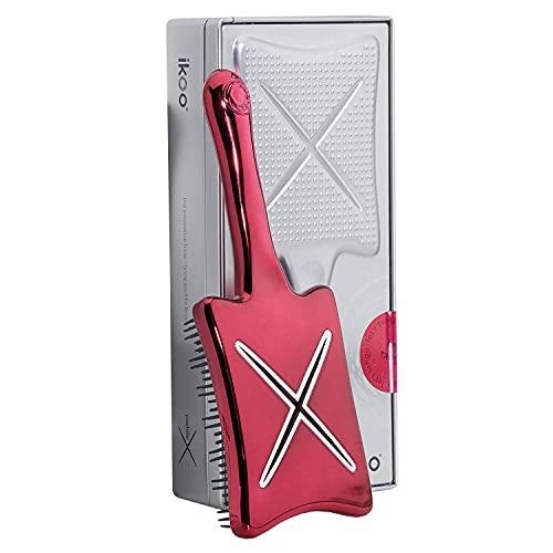 ikoo Paddle X Metallic - Paddle Brush, Bürste, Massage Haarbürste zum Föhnen, innovative Stylingbürste zum Glätten, Entwirrungsbürste, pflegende Langhaarbürste, Vent Brush, Föhnbürste, Luftschlitze