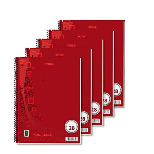 5x Collegeblock / Din A4 / Spirablock / kariert / extra Starkes 90g/m² Papier