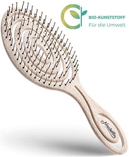 Ninabella Bio Haarbürste ohne Ziepen, Profi Entwirrungsbürste, Einzigartige Detangler-Bürste mit Spiralfeder, Anti-Ziep-Haarbruch-Knoten-Spliss-Bürste