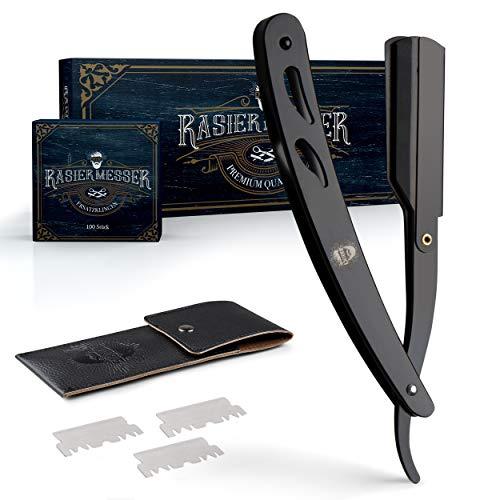 ENTORIS – Barber Rasiermesser für Herren – Mit [100] scharfen Rasierklingen – Hochwertiger Edelstahl – Bartmesser-Set mit Wechselklinge – [Schwarz] – Inklusive Etui – Für Körper & Gesicht