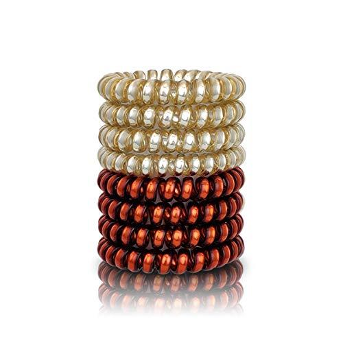 Black Roses ® Original Anti-Spliss Haargummi 8er Set - Haar Spirale für Damen - Invisible Bubble Haarbänder Telefonkabel - 4 Copper / 4 Gold