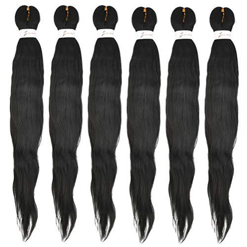 POKIENE 6 Pcs Flechtenhaar Schwarz, Jumbo Braids Extensions Haarverlängerung Hochtemperaturfaser (26' /66cm, Schwarz)