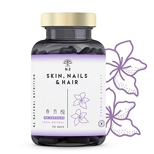 Biotin Hochdosiert. Haut Haare Nägel Vegan Kapseln, Zink, Selen. Vitaminen C, E, B und Mineralien Magnesio. Haarwachstum beschleunigen, bartwuchsmittel, haut vitamine. 90 Kapseln N2 Natural Nutrition