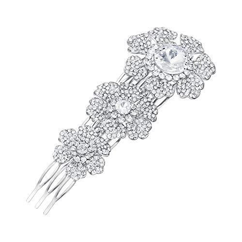 EVER FAITH Damen Haarkamm Damen österreichische Kristall Hochzeit Braut 3 Blume Cluster Lange Haare kämmen Klar Silber-Ton