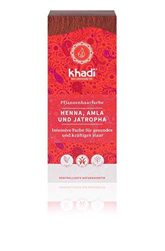 khadi Pflanzenhaarfarbe Henna, Amla & Jatropha 100g I Haarfarbe Hellrot bis Dunkelrot I Naturhaarfarbe 100% natürlich