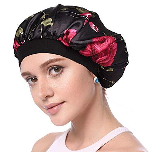 Simoda Satin Floral Night Cap für lockiges Haar Elastisches Band Schlafmütze Haarpflege Satin Haube (#1)