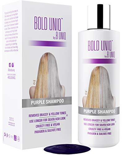 Silbershampoo - Anti-Gelbstich Purple Shampoo für blonde, blondierte, gesträhnte und graue Haar - No Yellow von für Silber- Aschblond-Tönung - ohne Sulfat & Paraben - Bold Uniq by B Uniq