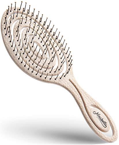 Ninabella® Bio Haarbürste ohne Ziepen, Profi Entwirrungsbürste, Einzigartige Detangler-Bürste mit Spiralfeder, Anti-Ziep-Haarbruch-Knoten-Spliss-Bürste