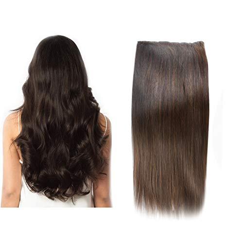 (35cm-55cm) Clip In Extensions 10 Teiliges SET 160g 100% Remy Echthaar für Komplette Haarverlängerung glatt Haarteile (2#, Dunkelbraun, 50cm)
