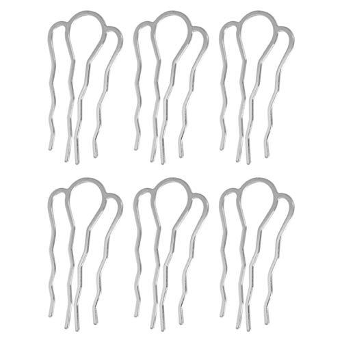 Lurrose 6 stücke 4 zähne haarkämme pins metall seitenkämme diy haarnadeln updo zubehör für mädchen frau lange haare (silber)