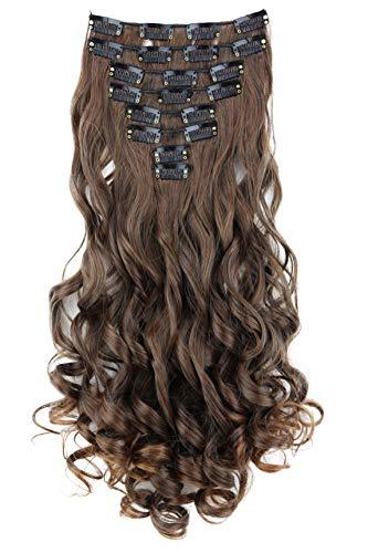 PRETTYSHOP XL 45cm 7 Teile Set CLIP IN EXTENSIONS Haarverlängerung Haarteil Voluminös Gewellt Braun Mix CE9-1