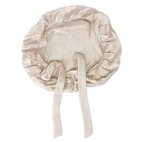 SWECOMZE 100% Seide Schlafmütze Atmungsaktive Nachtmütze Kopfbedeckung Haarpflege Mit Elastischen Band, Verpackung Mehrweg (Beige)