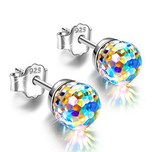 Alex Perry 6mm Ohrringe Silber 925 Geschenke für Frauen Kristalle Ohrstecker für Mädchen Geschenk Aurore Boreale Valentinstag Weihnachten Muttertag Geschenke für Mama Damen sie Geburtstagsgeschenke