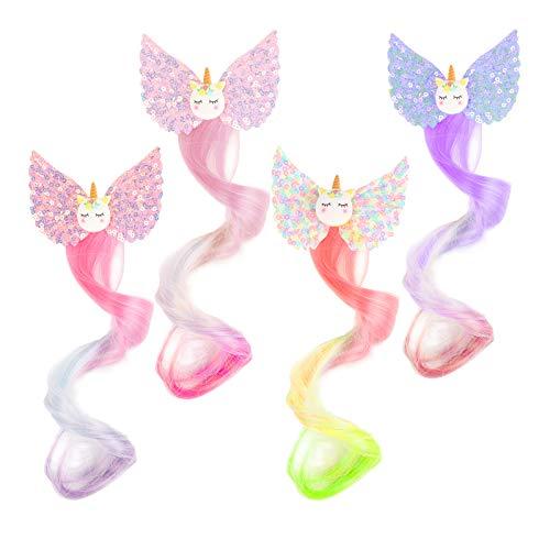 AirSMall 4stk Einhorn Haarspangen Farbverlauf Haarverlängerungs Clip Kinder Strähnchen Neon Farben Haarnadel Haarschmuck mit Prücke für Mädchen Prinzessinen Geburtstags Party