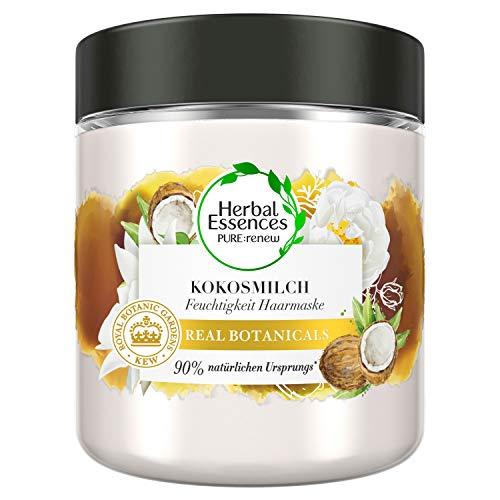 Herbal Essences PURE:renew Kokosmilch Feuchtigkeit Haarmaske Coconut Milk, Kokos, Haarpflege Glanz, Haarpflege Trockenes Haar, Aloe Vera, Haarkur, Haare Kur, Haarkur Trockene Haare, Haar Mask, 250ml