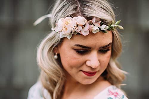 10-01 Blumenkranz Blüten Haarschmuck Braut Hochzeit wedding Hairdress Boho Vintage Diadem Brautkleid Perlen flowers in the hair