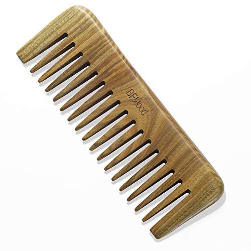 BFWood Sandelholz-Haarkamm, Entwirrung der Haare, Breitzahniger Kamm für Langes, Dickes, Lockiges, Gewelltes Haar