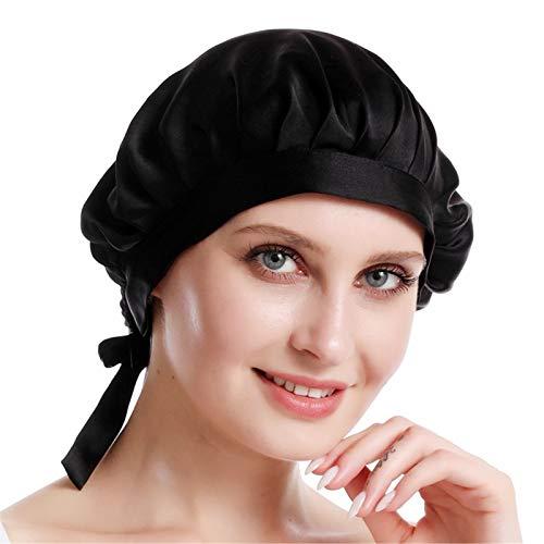 SWECOMZE 100% Seide Schlafmütze Atmungsaktive Nachtmütze Kopfbedeckung Haarpflege Mit Elastischen Band, Verpackung Mehrweg (Schwarz)