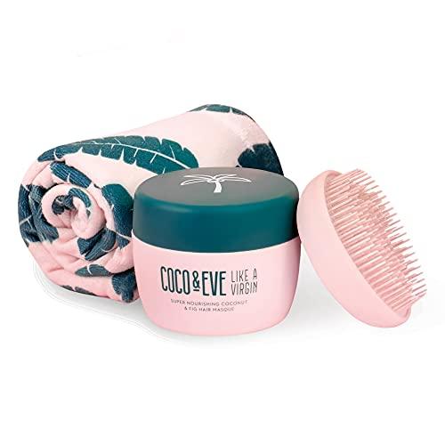 Coco & Eve That's a Wrap - Set aus Haarmaske, Tangle Tamer und Mikrofaser Turbanhandtuch - für alle Haartypen geeignet