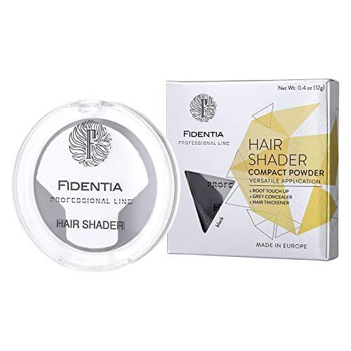 Fidentia Hair Shader 12g | Made in EU | Haar Concealer Puder zur Haarverdichtung, Ansatz & Geheimratsecken kaschieren - Schwarz