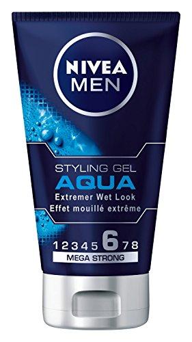 NIVEA Men Haar-Gel für Männer, Styling Gel, Extremer Wet Look, Mega Starker Halt, 150 ml Tube, Aqua