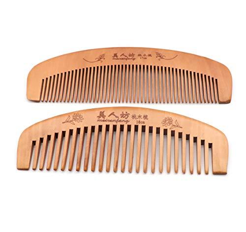 Handgearbeiteter Holzkamm für lockigen, breiten, gezackten Holzkamm, antistatischer und barrierefreier handgearbeiteter Bart, für Frauen geeignetes Haar, statischer Naturholz-Sandelholzkamm