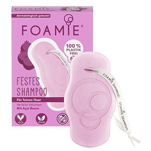 Foamie Festes Volumen Shampoo für feines Haar mit Acai-Beeren und Mandelextrakt, 100% vegan, plastikfrei, sorgt für mehr Volumen, 80g