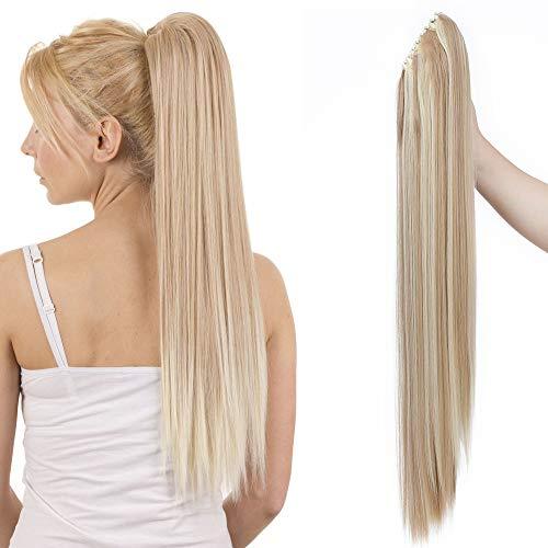 Ponytail Extension Pferdeschwanz Haarteil Haarverlängerung Zopf mit Butterfly-Klammer Hair Piece Haar Glatt Hitzebeständig wie Echthaar Glatt-Sandy Blonde & Blond Bleichen-1 66 cm