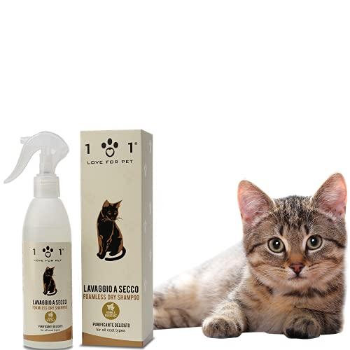 Natürliches Trockenshampoo für Katzen, 250 ml - Shampo Spray Kein Wasser oder Spülen erforderlich - für eine effektive chemische Reinigung Linea 101