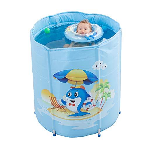 WUSTEGCCF Baby-Faltbare Pool-Badewanne, Tragbarer Aufblasbarer Pool, Kinder-Wasser-Spiel-Spaß-Reise-Luftdusche-Becken-Sitz-BäDer FüR Kinder Im Freien,Blue