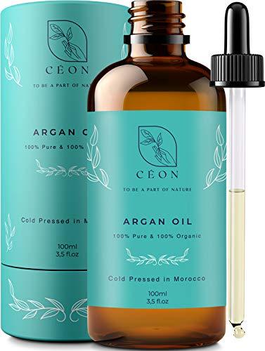 CÉON® - PREMIUM Arganöl BIO & VEGAN - 100% rein und kaltgepresst - 100ml bio arganöl Haaröl - optimal für Haarpflege, Haare, Gesicht, Haut & Nägel - Argan Öl - Anti-Aging - Feuchtigkeitspflege