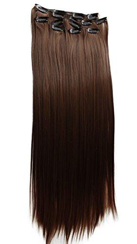 PRETTYSHOP XXL 60cm 8 teiliges SET Clip In Extensions Haarverlängerung Haarteil hitzebeständig glattbraunmix 4T30 CES12
