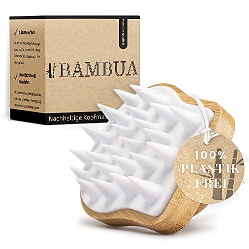 """BAMBUA Kopfhaut Massagebürste - [100% Plastikfrei] Shampoo Bürste aus Bambus - Anti-Schuppen Effekt - Zur Kopfmassage beim Duschen - Premium Kopfmassage Bürste - inkl. E-Book """"Gesunde Kopfhaut"""""""