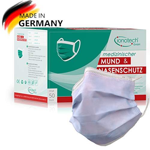 Mund & Nasenschutz Typ IIR, 50 Stück, Made in Germany, Zertifiziert nach DIN 14683, CE, BFE  99%