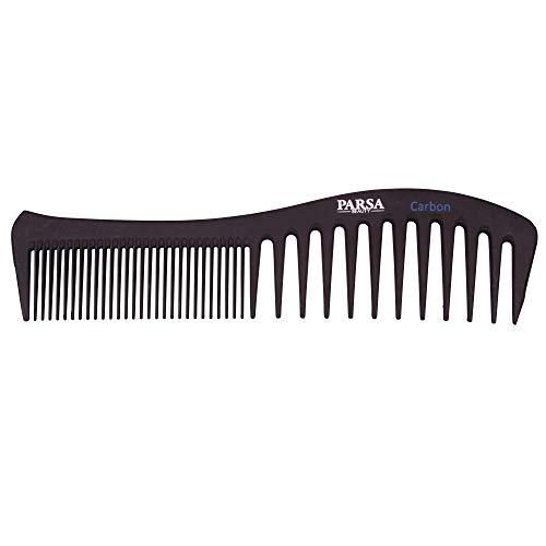 PARSA BEAUTY Profi-Stylingkamm Strähnenkamm Haarkamm, antistatisch aus Carbon grobe & feine Zahnung 19 cm Karbon-Kamm für alle Haarlängen und -typen