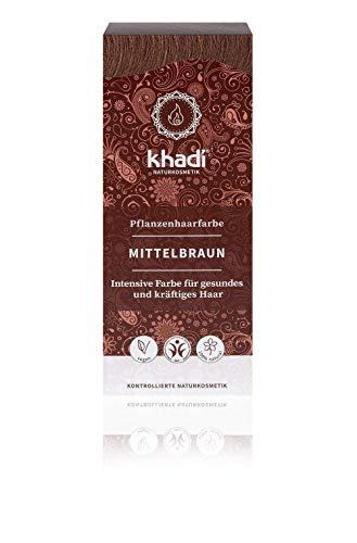 khadi Pflanzenhaarfarbe Mittelbraun 100g I Haarfarbe für warmes und mittleres Braun I Naturhaarfarbe 100% pflanzlich